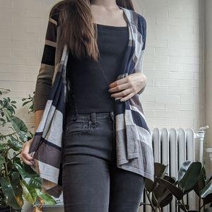 Chico's Geometric Cardigan Sweater Black